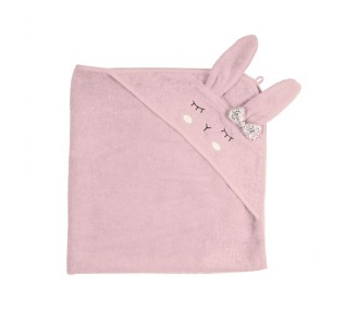 Kikadu Bath Hooded Rabbit Towel, Pale Rose - AVAIL AUGUST