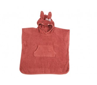 Kikadu Bath Poncho Rabbit Towel, Rust - AVAIL AUGUST