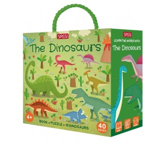 Sassi Travel, Learn and Explore - 3D Puzzle and Book Set - Learn Words Dinosaurs - AVAIL 21/6