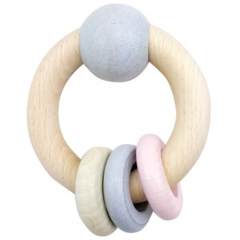 Hess-Spielzeug Rattle Round With Ball & 3 Rings Natural Pink
