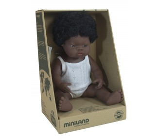 Miniland Doll - Anatomically Correct Baby, African Girl, 38 cm - AVAIL 19/7
