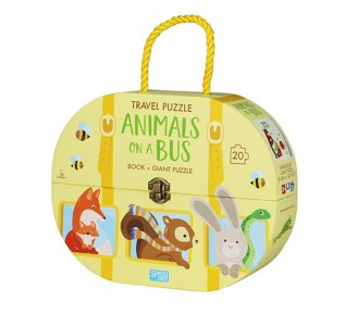 Sassi Travel Giant Puzzle and Book - Animals on a Bus, 20 pcs