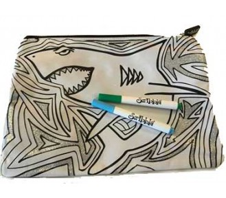 Scribbla Pencil Case & Fabric Pen Set, Shark